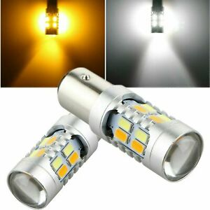 2pcs 1157 Dual Color 5730-SMD LED Turn Signal Amber&White Switchback Light Bulbs