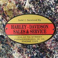 VINTAGE PARKERSBERG VA HARLEY DAVIDSON SERVICE PORCELAIN GAS & OIL DEALER SIGN!!
