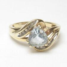 Estate 10K Yellow Gold 0.95 Ct Natural Light Blue Aquamarine And Diamond Ring