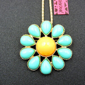 Women's Blue Enamel Opal Charm Flower Pendant Betsey Johnson Necklace/Brooch