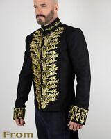 Vintage Embroidered Tailcoat Black Cotton Mens Victorian style Coat VTG