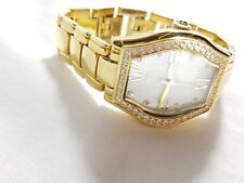 DMQ Gold Tone Women's Mother Of Pearl Ladies Watch Stone Faced Bezel STUNNING
