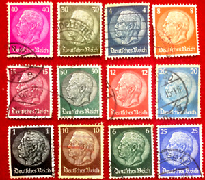 Authentic World War-II Used German 12 Different Stamps -Very Rare Stamp Set