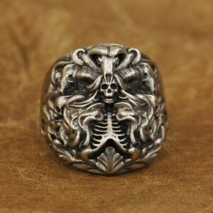 LINSION Cupronickel Dark Banshee Skull Ring Mens Biker Punk Ring CP259B UK N½~Z4