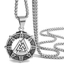Norse Warrior Pendant Necklace Set Mens Stainless Steel Viking Valknut Odin's