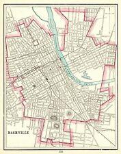 1898 Antique NASHVILLE Street Map Original Map of Nashville Tennessee 7697