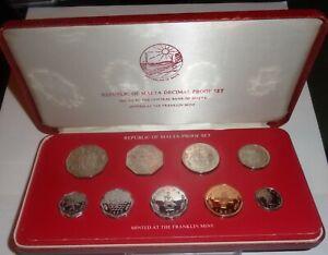 1977 Republic of Malta Decimal Proof Set    With COA & Original Box