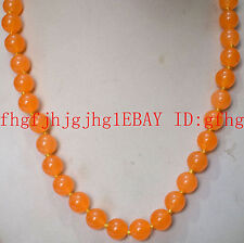Natural 12mm Orange jade Round Gemstone Necklace 18''