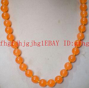 New Natural 10mm Orange jade Round Gemstone Necklace 20'' AA