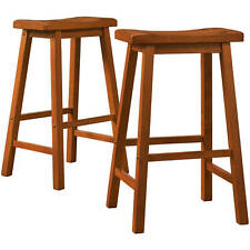 Bar Stools Set 2 Wood Seat Dining Room Kitchen Furniture Counter 29 Inch Oak