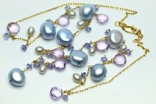 14K Yellow Gold Baroque Silver Pearl Gemstones Necklace & Dangle Earrings Set