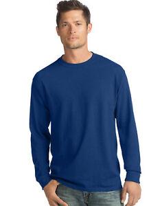 Hanes Long-Sleeve T-Shirt 4-Pack Tee ComfortSoft Men's 100% Cotton Heavyweight