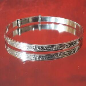 Vintage white metal Childs expandable bracelet signed WJS Silver - engraved