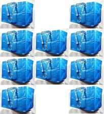 IKEA 10 X LARGE BLUE BAGS Shopping Bag Laundry Storage Travel Tote FRAKTA