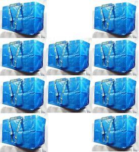 IKEA 10 X LARGE BLUE BAGS Shopping Bag Laundry Storage Travel Tote FRAKTA
