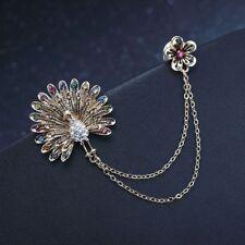 Rhinestone Flower Peacock Double Chain Tassels Brooch For Women Brooch Stylish