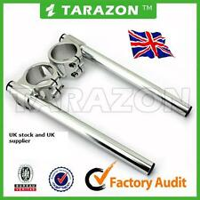 Tarazon 39mm clip on handlebars.Silver, billet aluminium alloy  cafe racer.