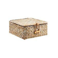 Petit carré blanc lavé paille Boîte Osier Stockage Panier Bohème bijoux make up