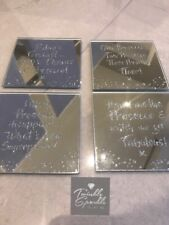 Brand New Set of 4 Glass Mirror Coasters with Silver Glitter Prosecco Slogans