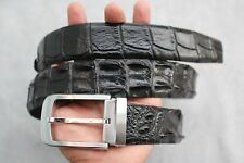 Without Jointed-BLACK Genuine Alligator, Crocodile Leather Skin Men's Belt