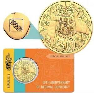2016 GOLD PLATED 2016 50 CENT COIN WMF - UNC RAM SCARCE ONLY 5000 MINTED
