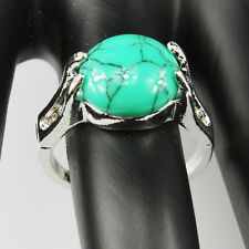 Turquoise Gemstone Fashion  Jewelry 925 Silver Men Women Ring Size 10