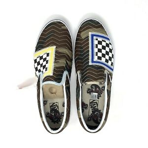 Vans Classic Slip On Mixed Quilting Camo White Checkerboard Women's 9 Shoes