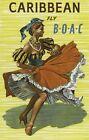 "Vintage Illustrated Travel Poster CANVAS PRINT Caribbean Boac 24""X16"""