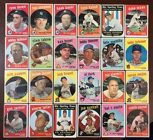 1959 Topps 50 Card Lot.Boyer-Jensen-Bauer-Kubek-Duren-Thomson-Labine-Dark-Friend