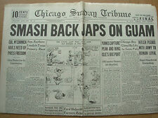 CHICAGO SUNDAY TRIBUNE WWII NEWSPAPER JULY 23 1944 YANKS PUSH BACK JAPS IN GUAM