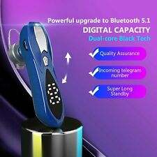 Wireless Bluetooth 5.0 Driving Trucker Headset Earbuds Noise Cancelling Led Blue