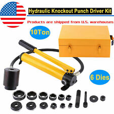 10 Ton Hydraulic Knockout Punch Hand Pump Hole Tool Driver Kit With 6dies Amp Case