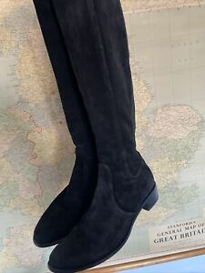 Russell & Bromley black suede knee length boots size 36 (uk 3)