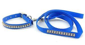 """SCOTT Jeweled Nylon Cat Collar & Lead, 10"""" x 5/8"""" Collar, 4' x 5/8"""" Lead, Blue"""