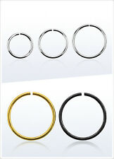316L Surgical Steel Gold Black Nose Ear Lip Piercing 20g Seamless Hoop Ring 1pc