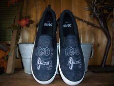 AC DC MENS CASUAL SHOES SIZE 9.5 BLACK RUBBER SOLES SUMMER SHOES MUSIC FAN