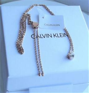 CALVIN KLEIN ROSE GOLD PLATED STAINLESS STEEL CRYSTAL NECKLACE BNWT BOX RRP £89