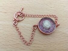"""Rose Gold Plated Chain 6.5"""" Bracelet with Cream Rose in Resin"""