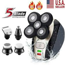 4D 5 IN 1 Rotary Electric Shaver Rechargeable Bald Head Shaver Beard Trimmer US
