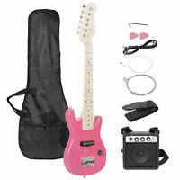 """30"""" Kids Electric Guitar With Amp & Much More Guitar Blue  Combo Accessory Pink"""