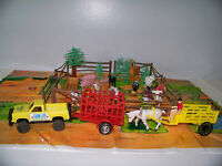 Farm Toy Animals Trucks Trailers Fences & Play Mat Ranch Play Set 36 Pc.