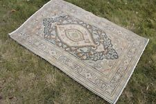 "Vintage Handmade Turkish Oushak Wool Green Area Rug Carpet 55""x34"""