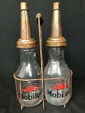 PHILLIPS 66 GLASS MOTOR OIL BOTTLES WITH METAL CARRIER CARRYING DISPLAY RACK