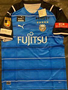 PUMA KAWASAKI FRONTALE Blue SOCCER JERSEY sz LARGE   JAPAN  J1 LEAGUE