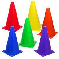 6 MultiColor 9 inch Cones Train Training Soccer Football Agility Traffic Bright