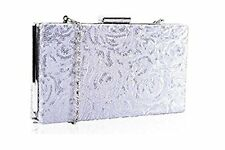 Leko  London Silver Sequin Hard Case Book Style  Clutch Bag