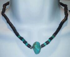 "VTG Navajo turquoise Zuni sterling Heshi Indian Necklace 16"""