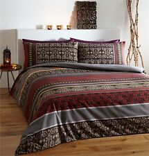 SUPER KING DUVET COVER SET FUSION RED FLORAL GREY WINE BEIGE INDIAN TRADITIONAL