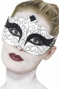 womens ladies fancy dress accessory MASQUERADE JEWELLED SWAN EYE MASK FEATHERS