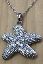 1.0ctw DIAMONIQUE SEA STAR .925 STERLING SILVER PENDANT NECKLACE